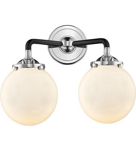 Photo of Innovations Lighting 284-2W-BPN-G201-6 Beacon 2 Light 14 inch Black Polished Nickel Bath Vanity Light Wall Light, Nouveau