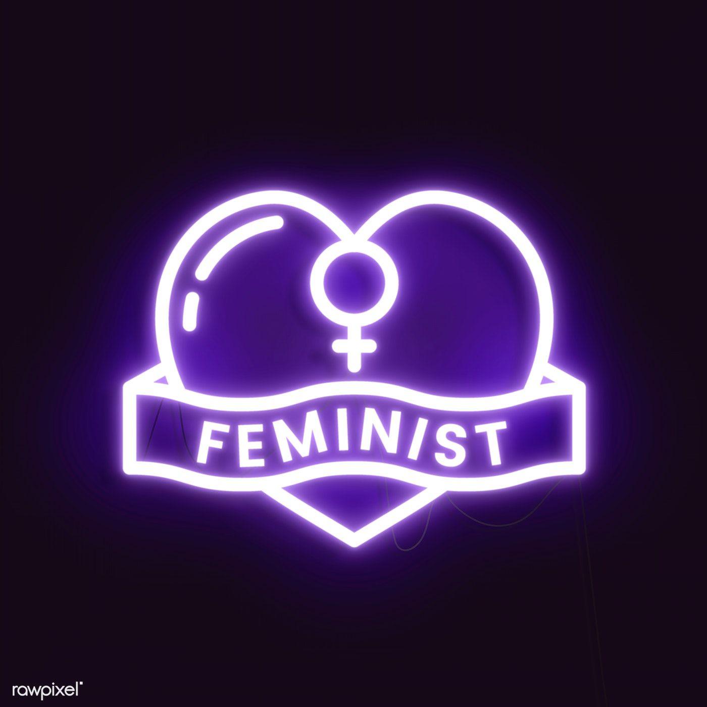 Download premium illustration of Neon feminist sign design