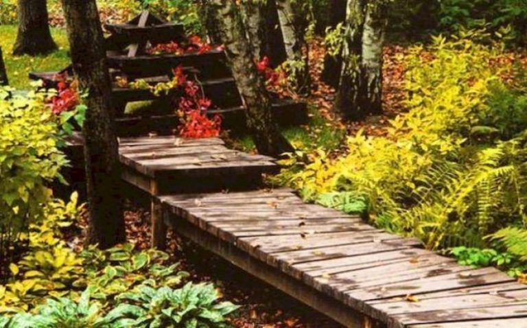 Photo of Simple and Affordable Wooden Garden Path Ideas 6    The garden can be divided in…