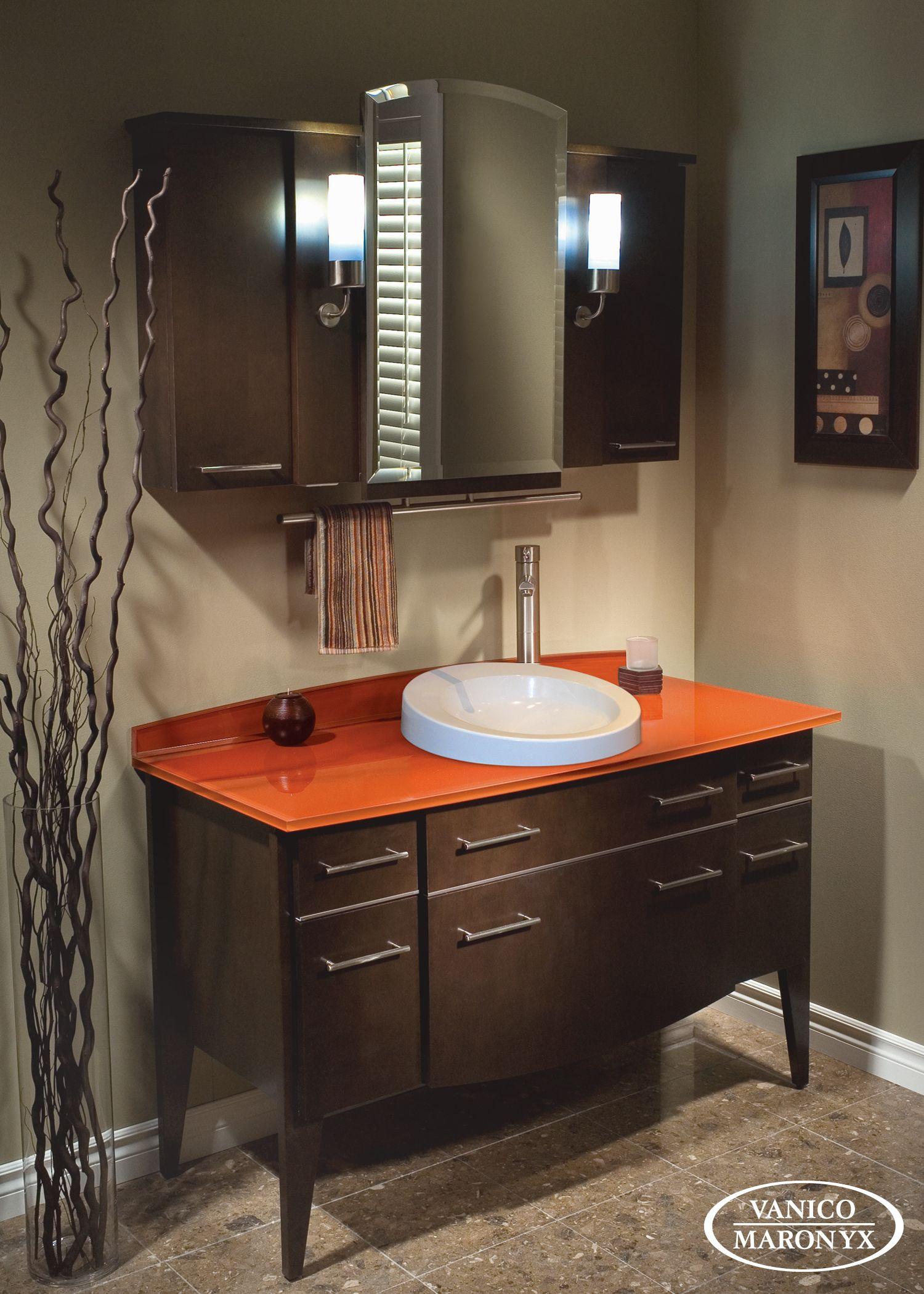 Vanico Maronyx's bath vanity with stylish orange glass ...