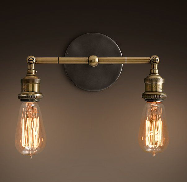Master Bath   20th C. Factory Filament Bare Bulb Double Sconce