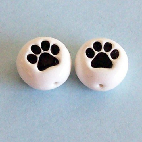 Paw Print Polymer Clay Beads, perfect for making earrings.  I can make any color combination $3.00 a pair