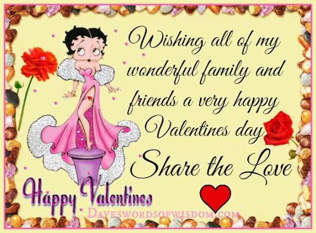 Wishing All My Wonderful Family And Friends A Happy Valentines Day – Valentine Greeting Cards for Friends