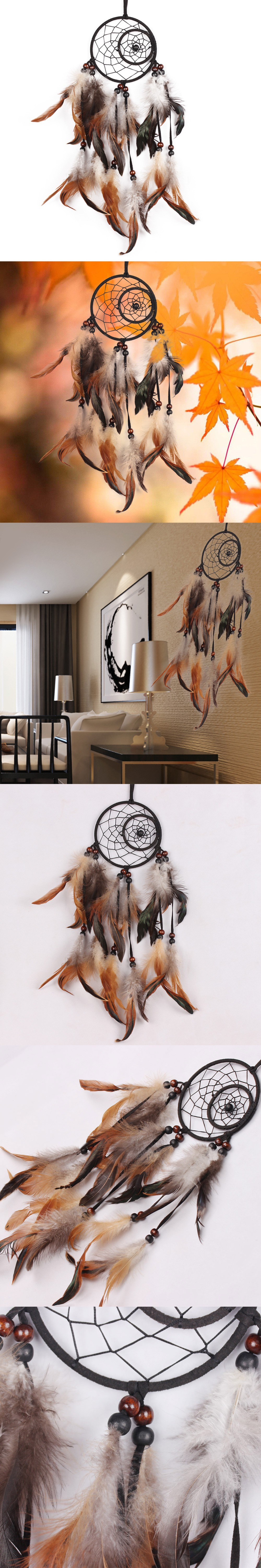 Black Handmade Indian Dream Catcher with Feathers Car Wall Hanging ... for Indian Hanging Decorations  55nar