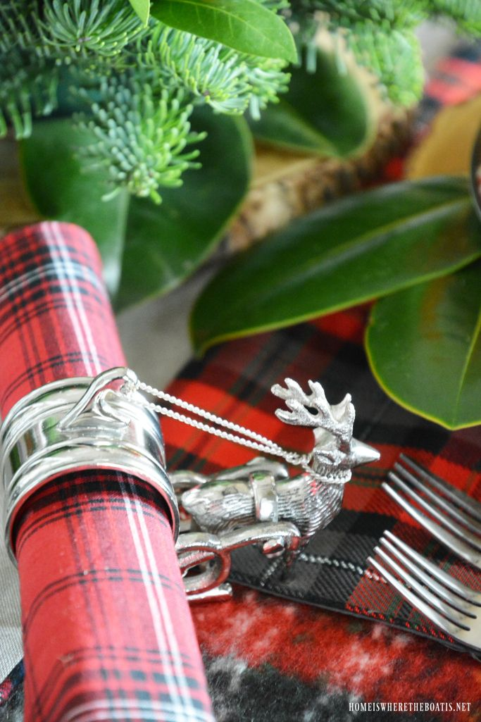 Oh Deer Tartan Christmas Table for Two by the Tree