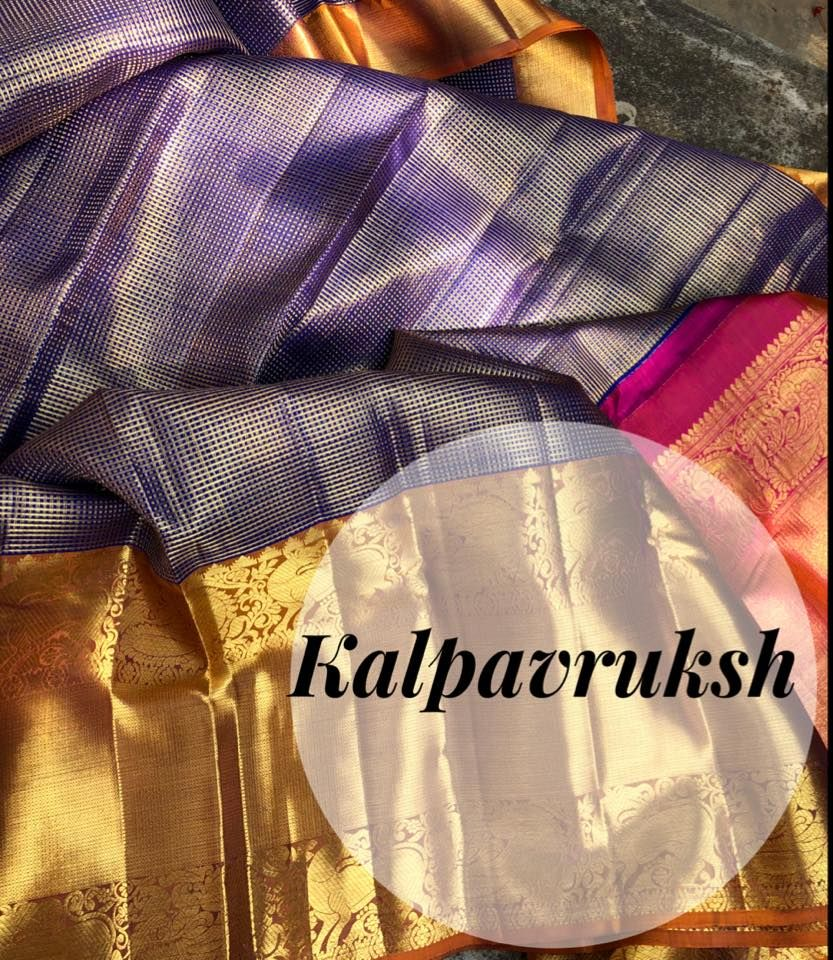 bb186580b5 Latest pattu saree designs by KalpavrukshA very rich and unique traditional  Kanchi organza with very fine zari checks weaving , stay unique and rich in  this ...