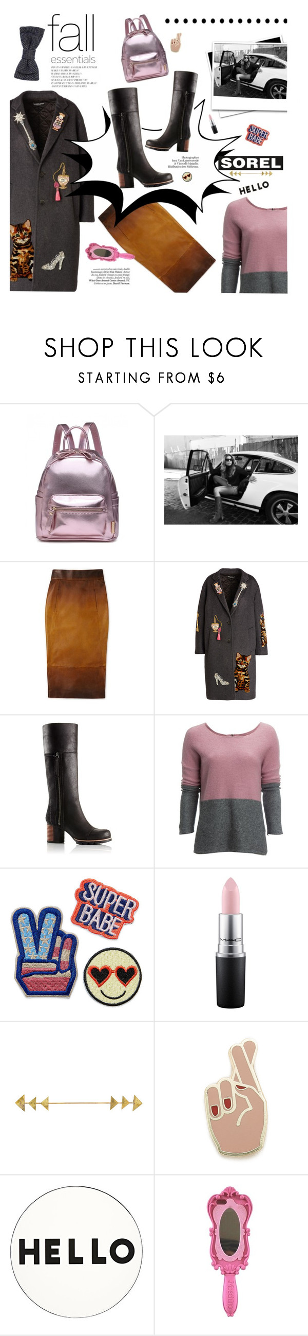 """Kick Up the Leaves (Stylishly) With SOREL"" by malussieversii ❤ liked on Polyvore featuring SOREL, Dolce&Gabbana, Carve Designs, MAC Cosmetics, Georgia Perry, Lisa Perry and Moschino"