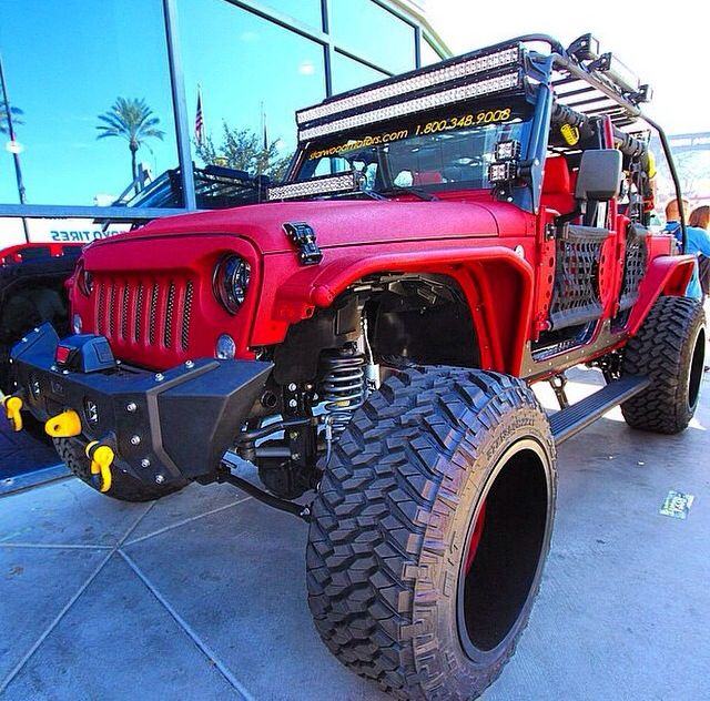 Jeep Jk Decked Out In Led Lights And Flat Red Paint Jeep Truck