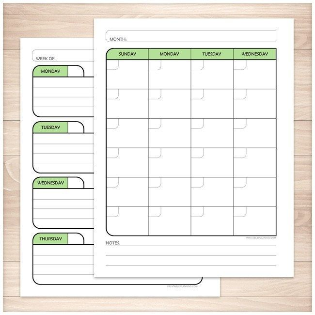 Green Monthly Weekly Calendar Planner Pages  Printable  Weekly