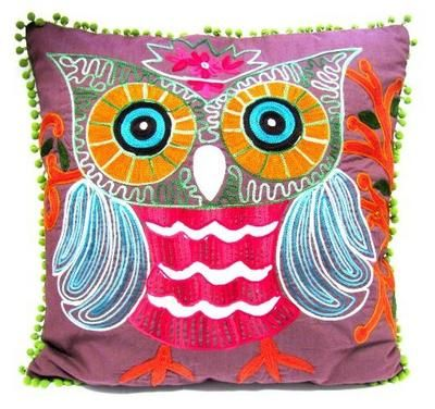 embroidered owl pillow!