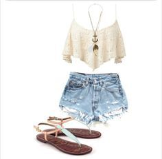 Crop top shirt and high waisted shorts and sandals