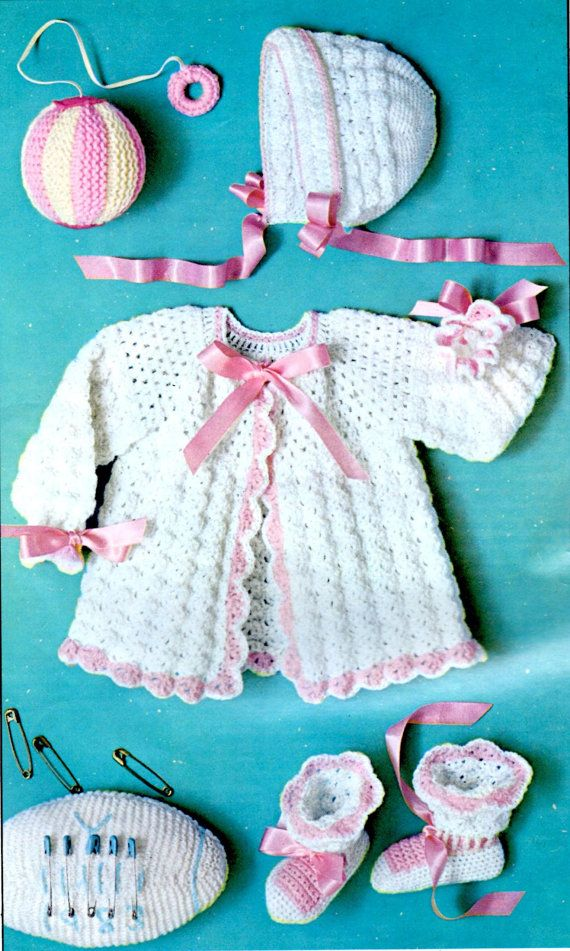 Crochet Pattern Shell Stitch Baby Sweater, Hat, Booties and Toys ...