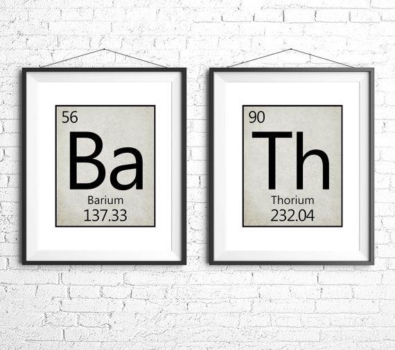 Bathroom Printable Art Periodic Table Set Of Two Bathroom Art