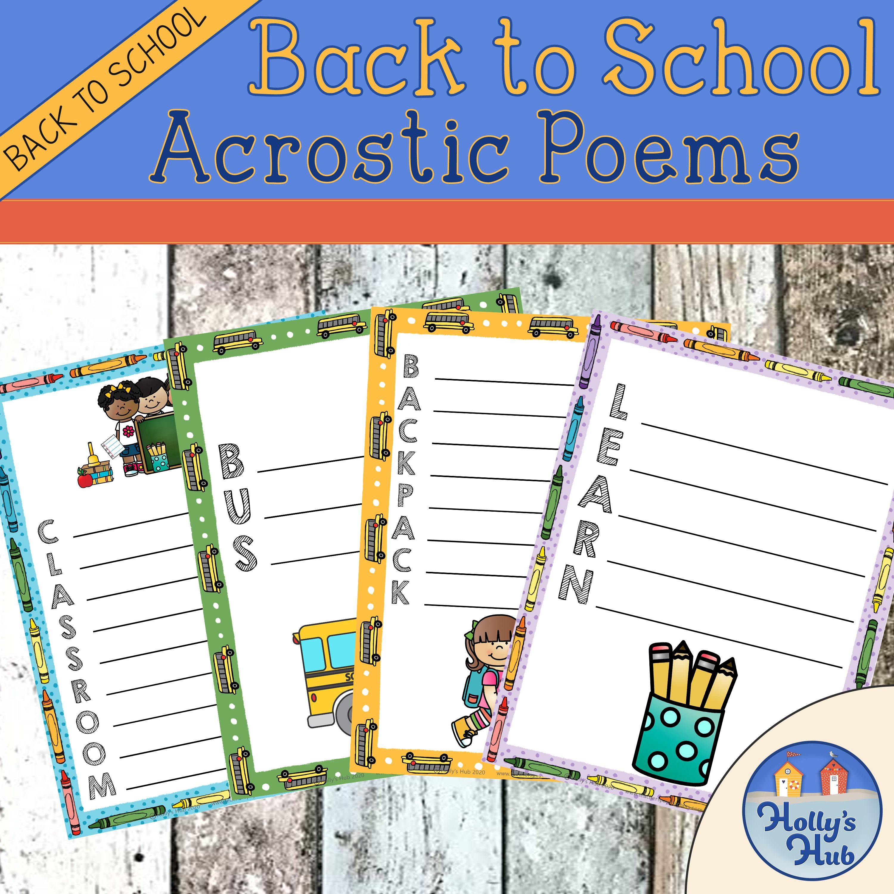 First Day Back To School Acrostic Poem Templates In 2020 Acrostic Poem Template Poem Template Acrostic