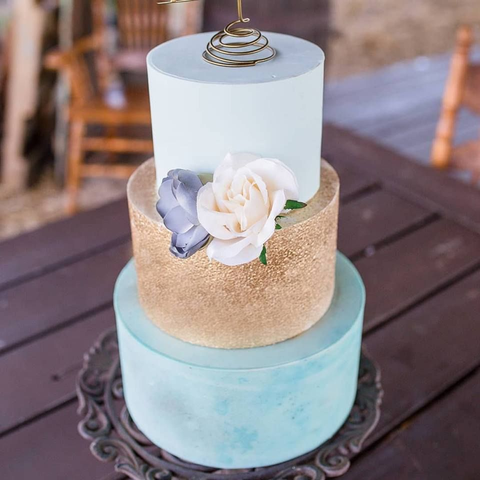 Blue And Gold Contemporary Wedding Cake With Silk Flowers Rustic