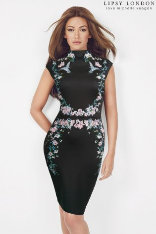 Buy Lipsy Love Michelle Keegan High Neck Floral Embroidered Bodycon Dress from the Next UK online shop