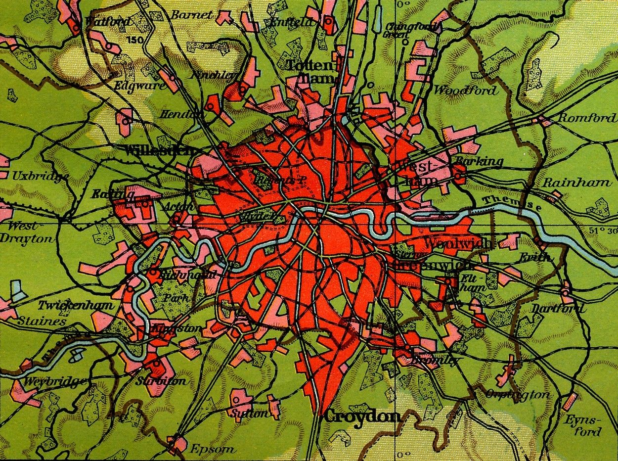 Map Around London.Brightly Coloured German Map Of London From Around 1930 From Lange