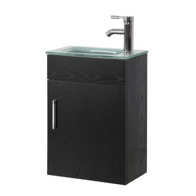 Sheffield Home 16 6 In Vanity In Black With Tempered Glass Vanity Top In Clear Frosted Bf101 The Home Depo Floating Vanity Glass Vanity Bathroom Vanity Tops