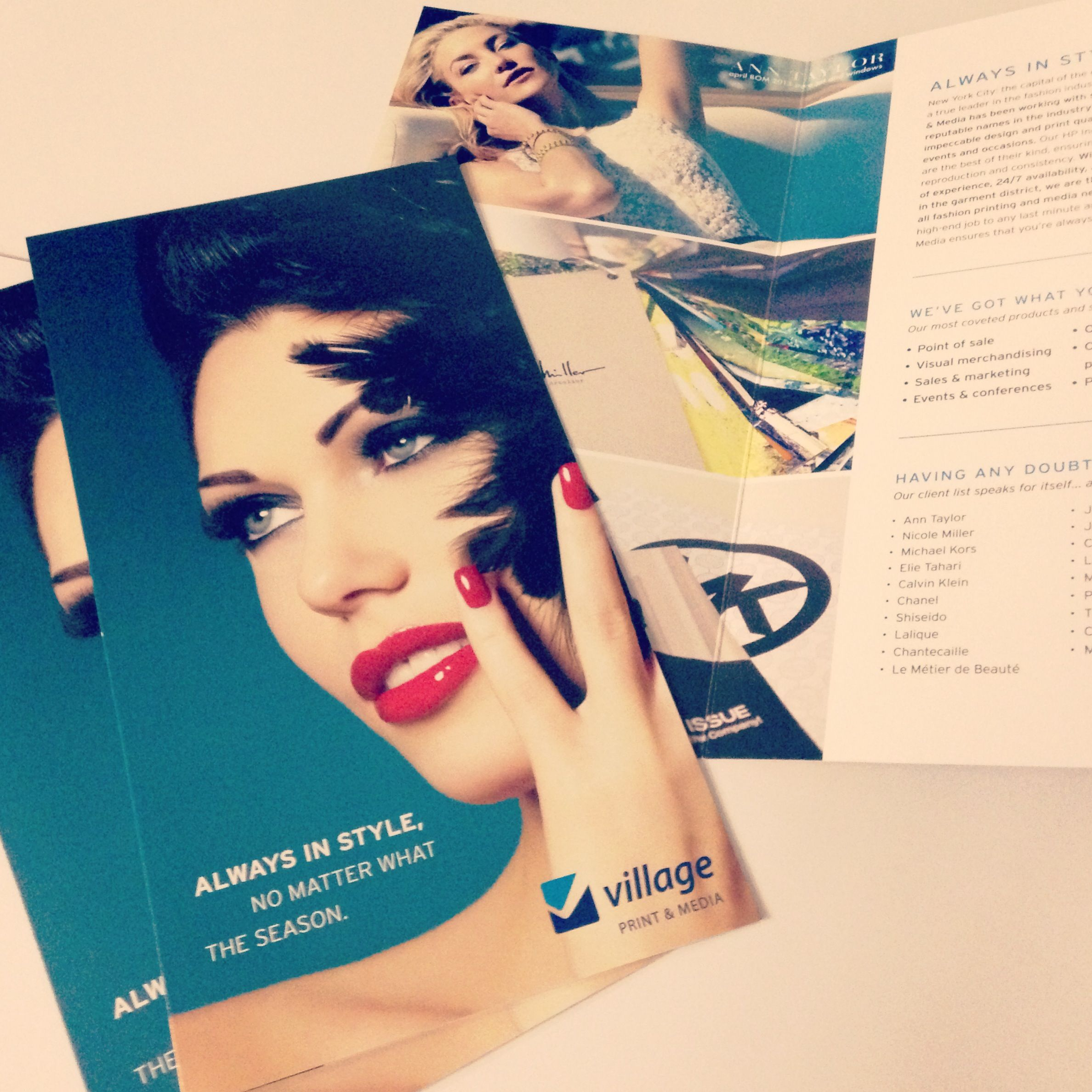 Our new creative services brochure detailing our fashion