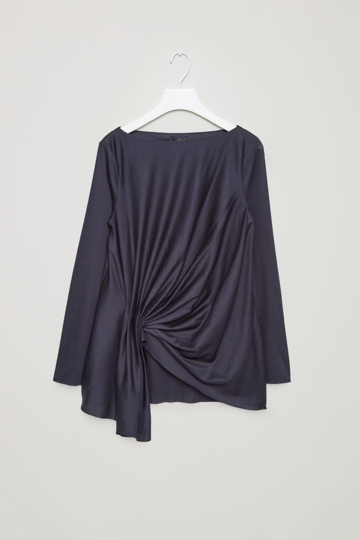 2bdd5584d44a0 COS image 4 of Top with front drape detail in Blue Reddish Dark ...