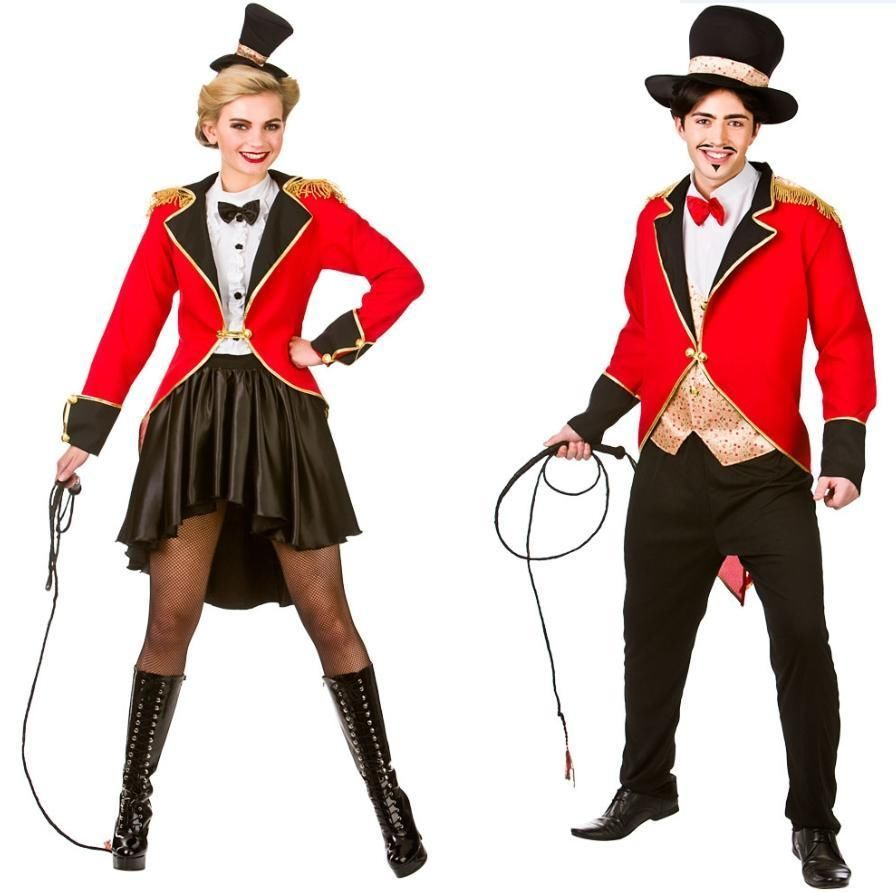 Men/'s Ringmaster Showman Circus Lion Tamer Barnum Ladies Fancy Dress Kit
