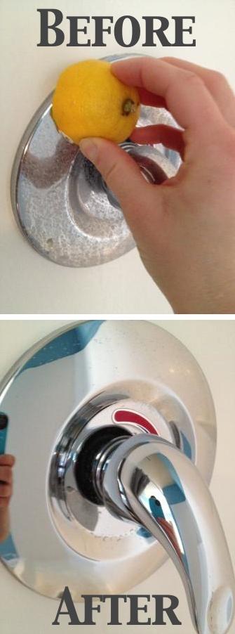 clean faucet with lemon