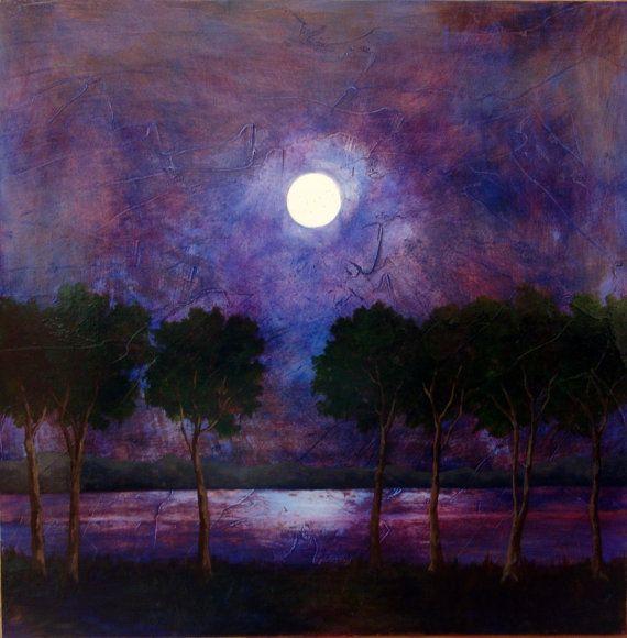 Purple Blue night sky moon original oil painting on wood ...