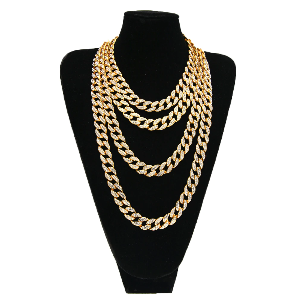 Gold Cuban Link Necklace Cz Diamond Mens Hip Hop Rapper Chain Gold Chains For Men Cuban Link Chain Necklaces Gold Chain Jewelry