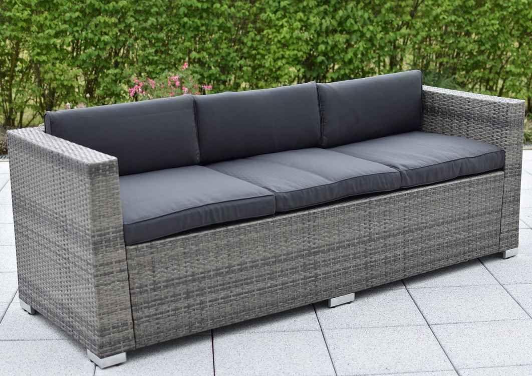 Merxx Loungesofa 3er Sofa Bari Deluxe Stahl Kunststoffgeflecht Inkl Kissen Lounge Mobel Stylische Mobel Mobel