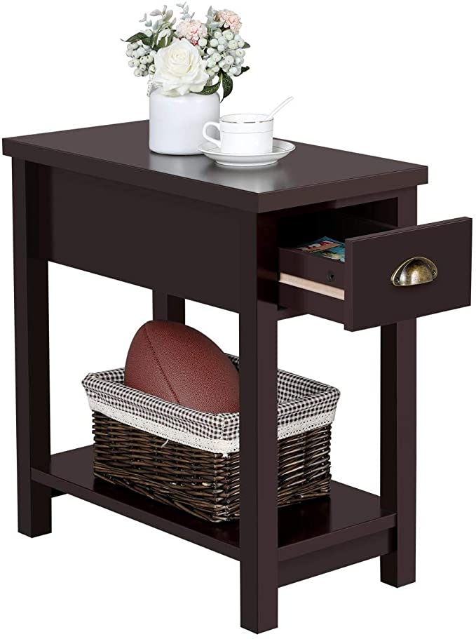 amazon yaheetech wooden sofa end table with 1 drawer