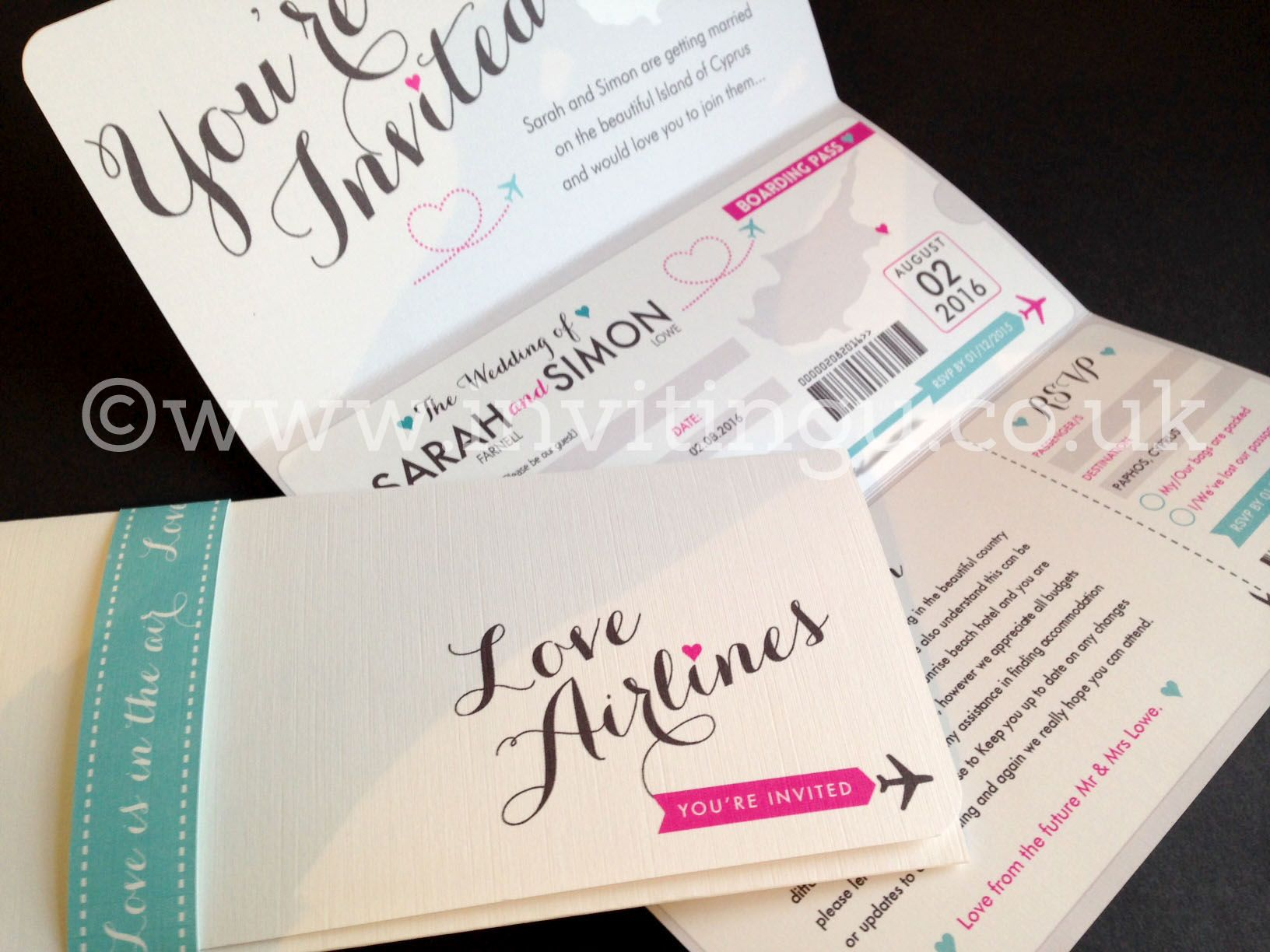 Budget Destination Wedding invites ©www.invitingu.co.uk ...