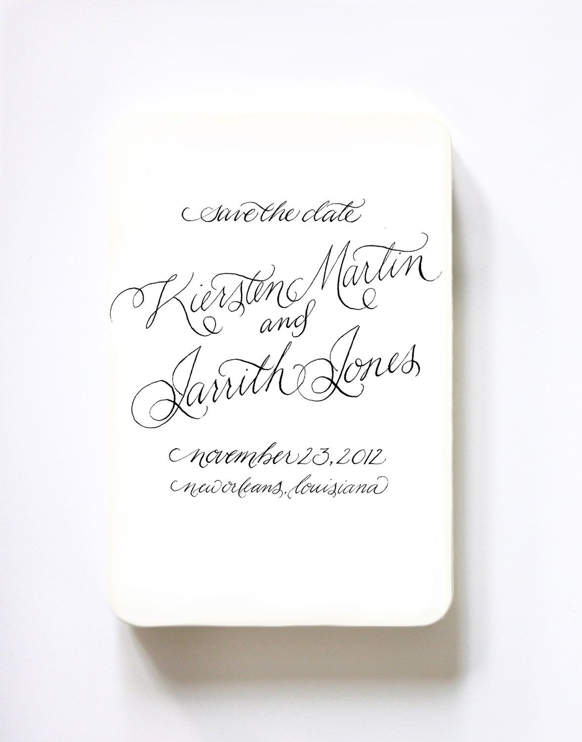Custom Calligraphy Save The Date Rubber Stamp Return Made To Order