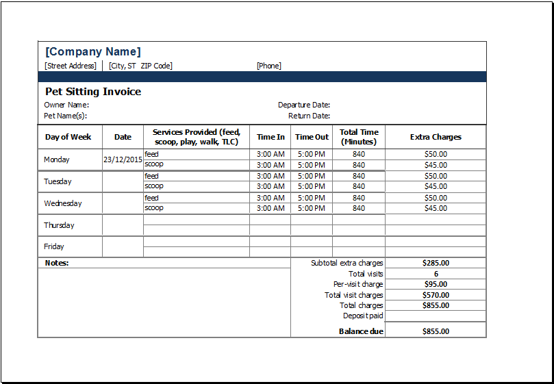 Pet Sitting Invoice Template At XltemplatesOrg  Microsoft