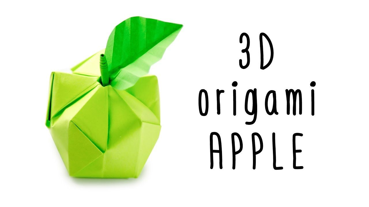 3D Origami Apple Tutorial Origami Fruit Paper Kawaii #origami ...