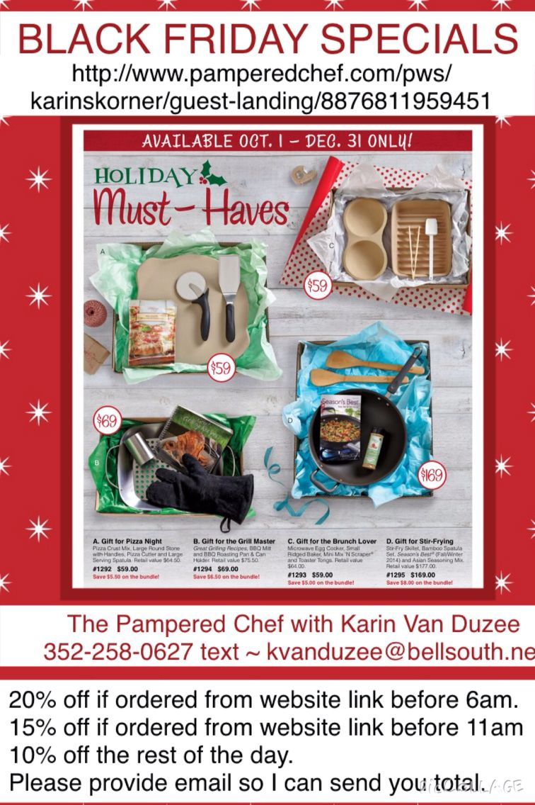 Please let me know if I can help you in any way.  The Pampered Chef with Karin Van Duzee