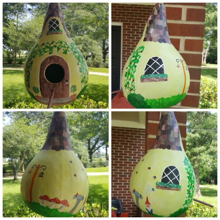 Handpainted Gourd Birdhouse. Cottage