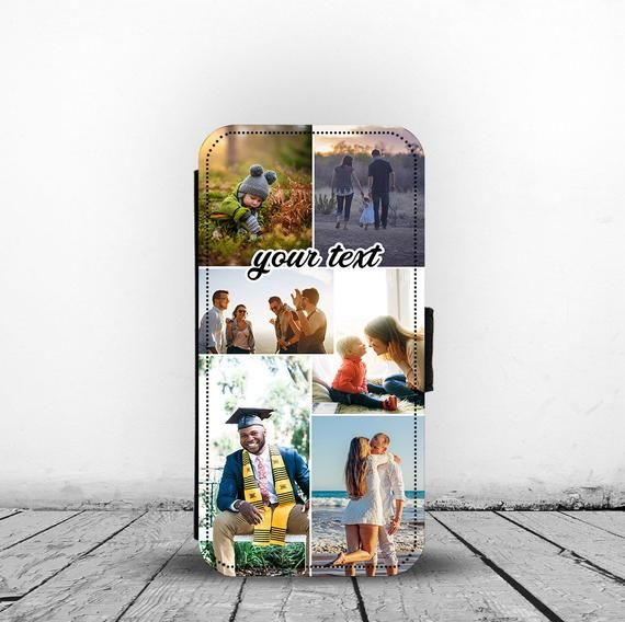 Personlised Flip Card Insert Synthetic Leather Phone case cover for iPhones Custom Photos Collage Te #excelwordaccessetc