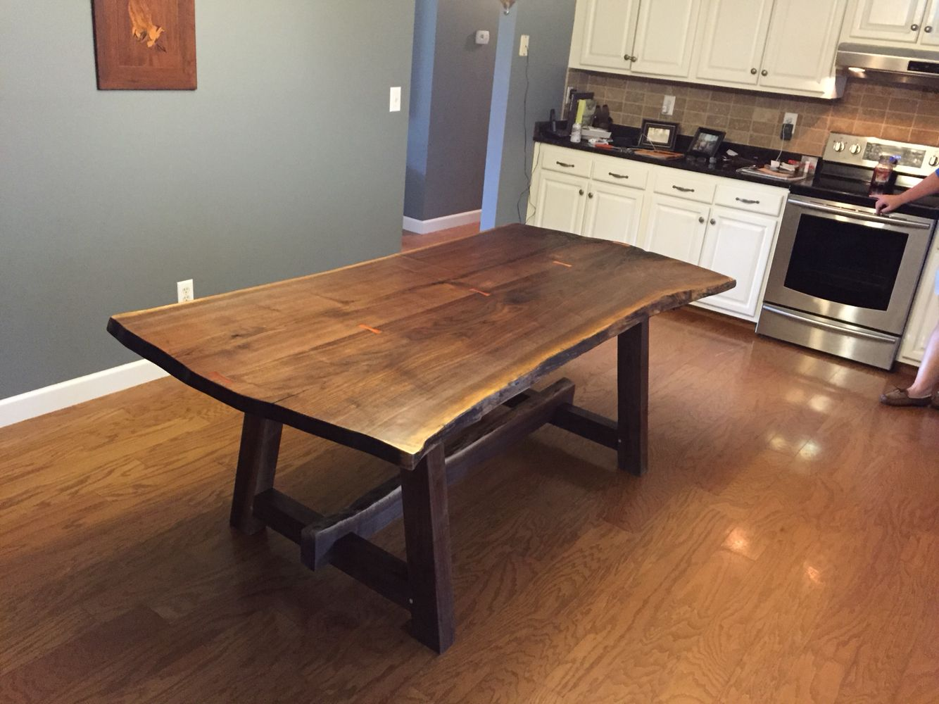 Live Edge Elm Table And Matching Benches Live Edge Dining Table Live Edge Furniture Live Edge Table