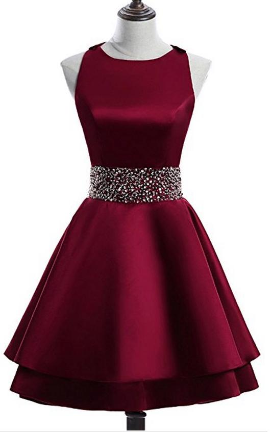 725c4b76248 Burgundy Satin Crew Neck Sleeveless Short Homecoming Dress Featuring ...