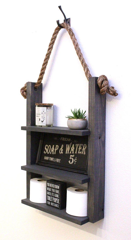Farmhouse bathroom hanging rope ladder shelf modern