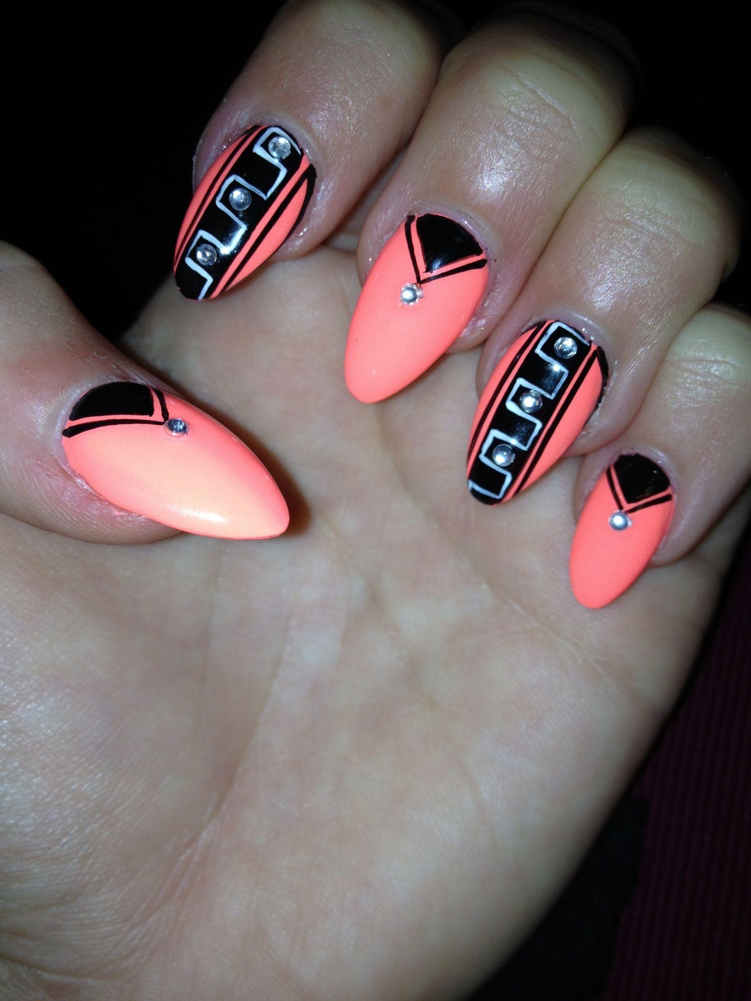 Stiletto Nails Coral Black Nail Design Nails Stiletto Nails Nail Designs