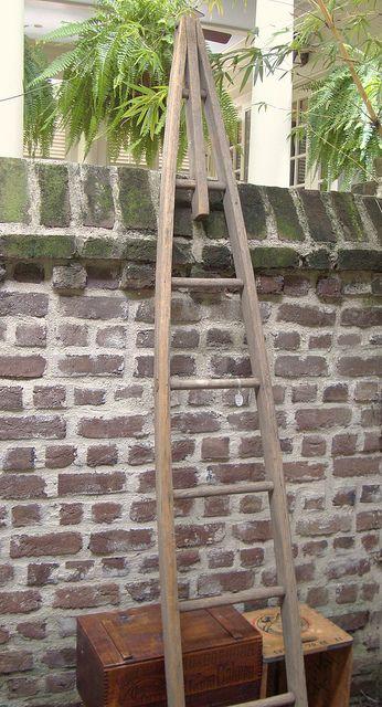Vintage Wooden Orchard Ladder Old Wooden Ladders Old Ladder Ladder