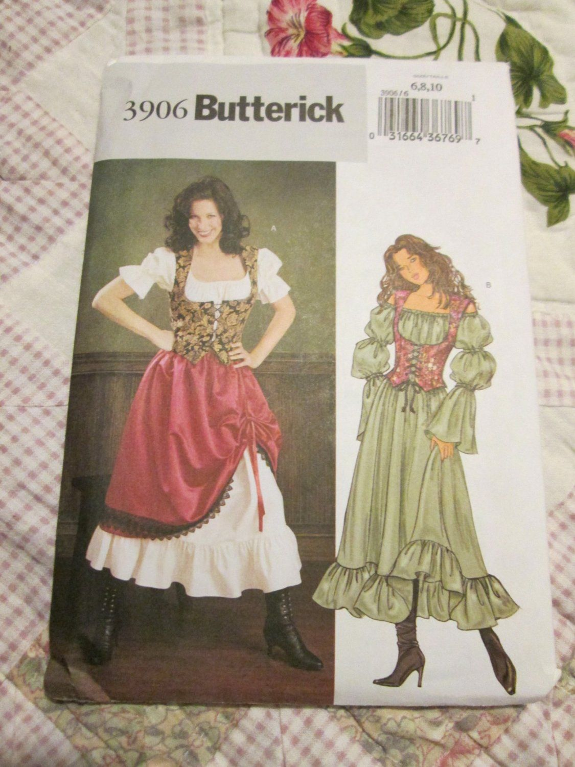 Butterick SEWING PATTERN 3906 Misses /& Petite Gypsy//Wench Costume