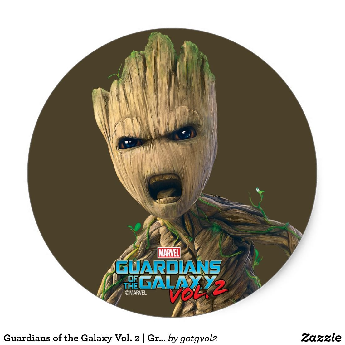 Guardians Of The Galaxy Vol 2 Groot Yell Classic Round Sticker Special Guardians Of The Galaxy Gift Ideas Guardians Of The Galaxy Galaxy Gifts Galaxy Movie
