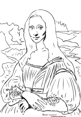Mona Lisa La Gioconda By Leonardo Da Vinci Coloring Page Free Printable Coloring Pages Outline Art Mona Lisa Drawing Da Vinci Art