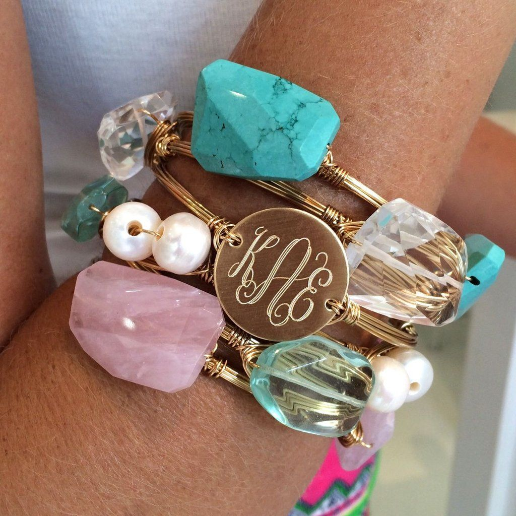 Monogram Wire Wrapped Bangle | takı | Pinterest | Wire wrapped ...