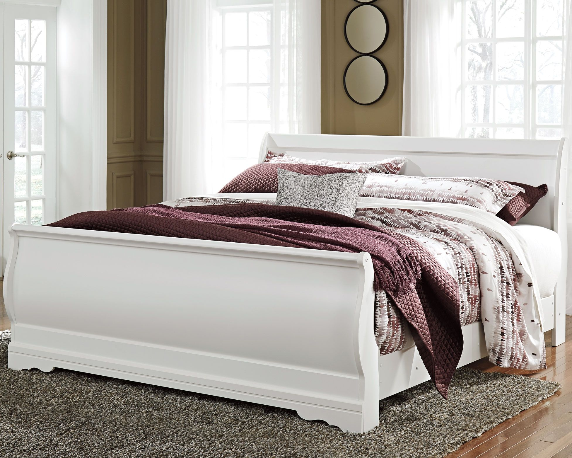 - Anarasia King Sleigh Bed, White White Headboard, Sleigh Beds