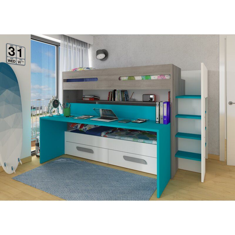 Twin Bunk Bed With Drawers And Bookcase