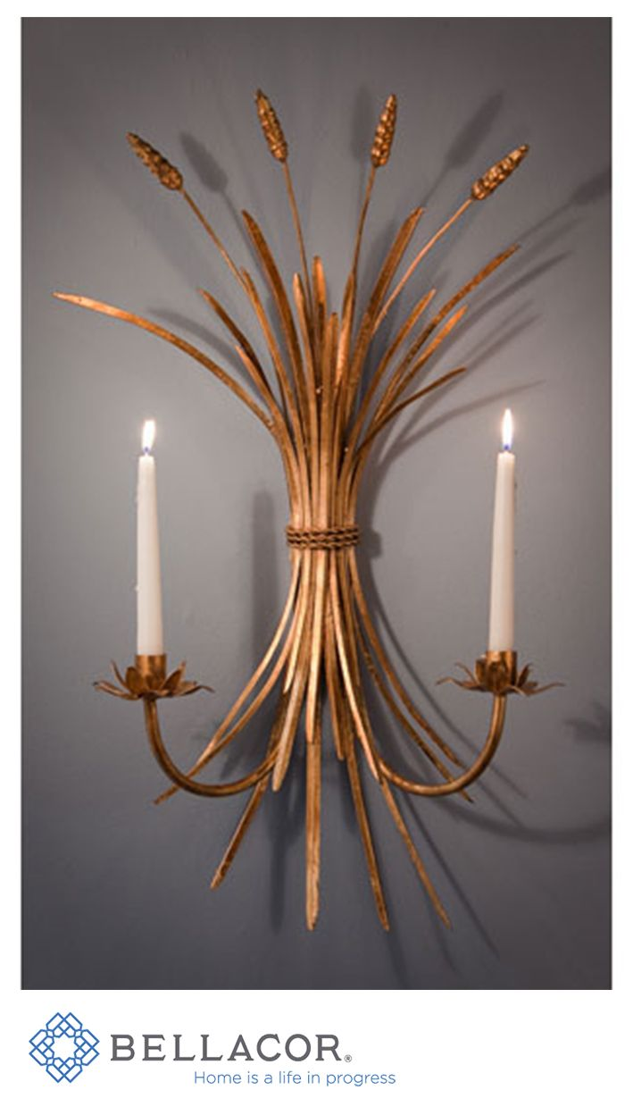 Antique Gold Wheat Candle Sconce