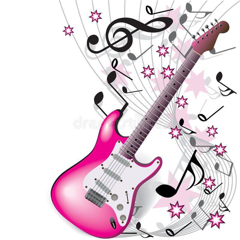 Pink Guitar On White Background Affiliate Guitar Pink Background White Ad Pink Guitar Music Artwork Music Drawings